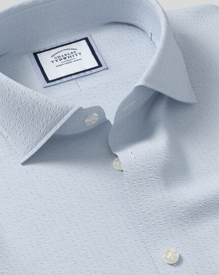 Business Casual Collar Cotton Seersucker With TENCEL™ Shirt - Sky