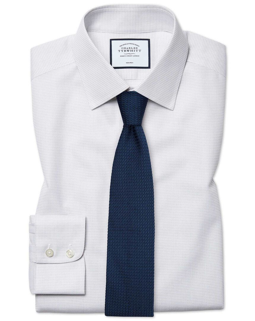 Classic fit non-iron dash weave grey shirt