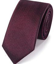Schmale Krawatte aus strukturierter Seide in Burgunderrot