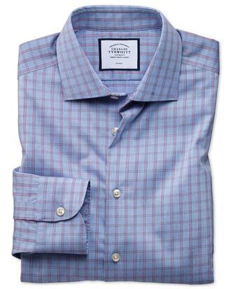Slim fit business casual non-iron blue windowpane check shirt