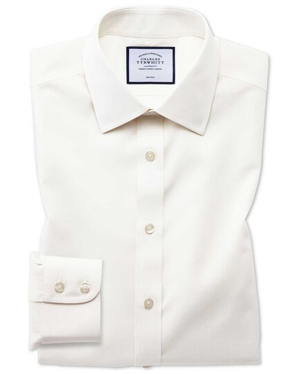 Classic fit cream non-iron poplin shirt