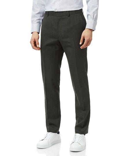 Green slim fit merino business suit trouser