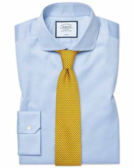 Super slim fit cutaway collar non-iron puppytooth sky blue shirt