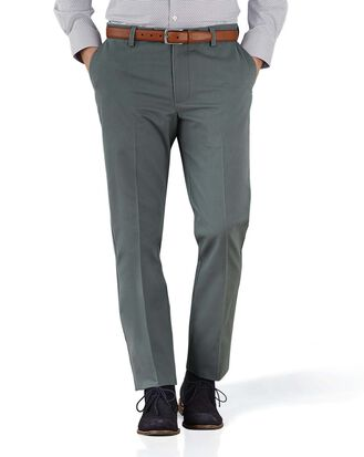 Grey extra slim fit flat front non-iron chinos