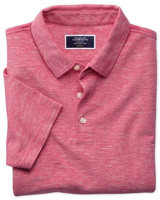 Dark pink cotton linen polo