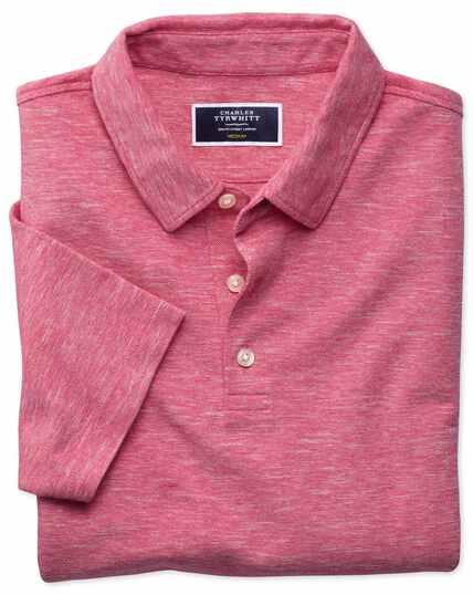 Dark pink cotton linen polo