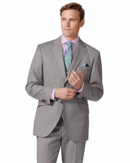Silver classic fit Italian suit jacket