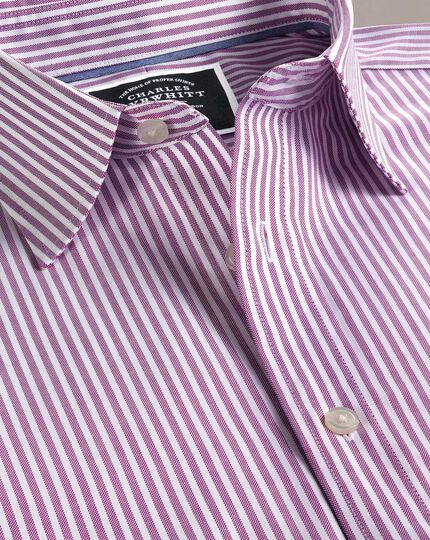 Classic fit non-iron purple Bengal stripe Oxford shirt