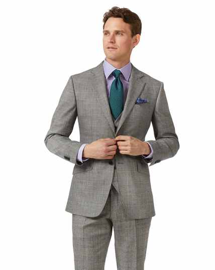 Grey slim fit Prince of Wales check flannel business suit jacket