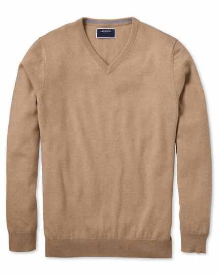 Pullover aus Kaschmir mit V-Ausschnitt in Gelbbraun