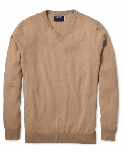 Tan v-neck cashmere jumper
