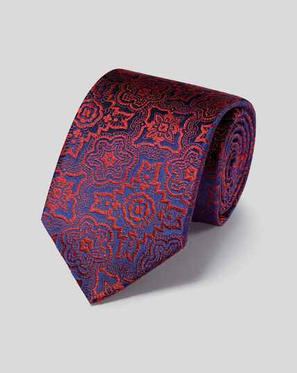 Silk Tile English Luxury Tie - Orange