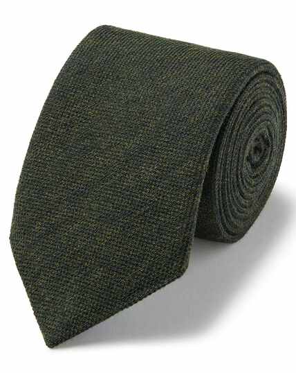 Olive plain wool silk luxury Italian tie