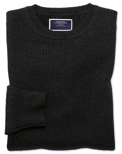Dark charcoal merino rib crew neck jumper