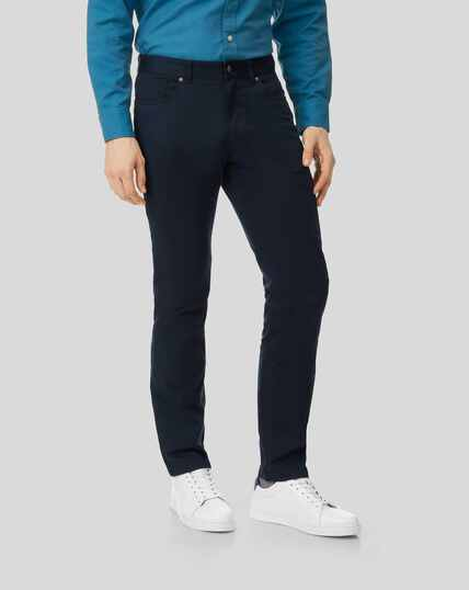 Cotton Stretch Five Pocket Trouser - Navy