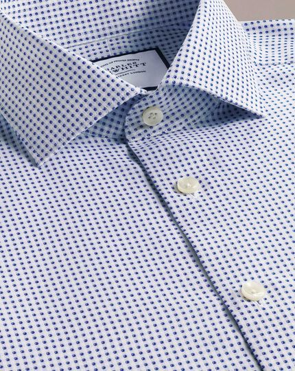 Slim fit business casual navy spot shirt