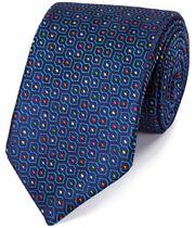 Cravate de luxe bleu roi en soie anglaise à imprimé géométrique