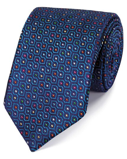 Royal blue silk geometric English luxury tie