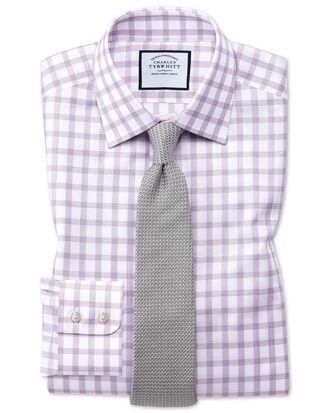 Classic fit windowpane check purple shirt