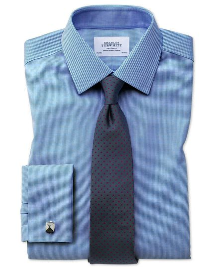Extra slim fit non-iron square weave blue shirt