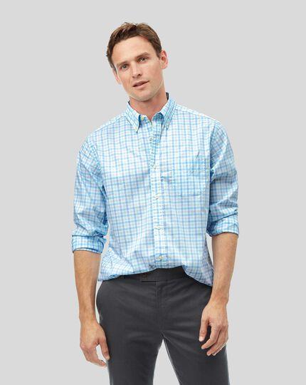 Vorgewaschenes Popeline-Hemd aus Stretchgewebe mit Button-down-Kragen und Karos - Grün & Himmelblau