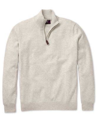 Chalk white cashmere zip neck jumper