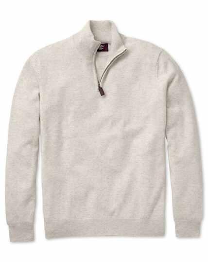 Chalk white cashmere zip neck jumper