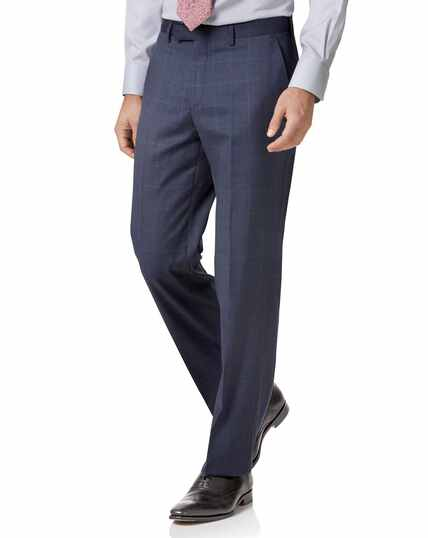 Airforce blue classic fit Italian suit trousers