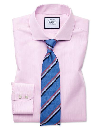 Classic fit non-iron Tyrwhitt Cool poplin pink stripe shirt