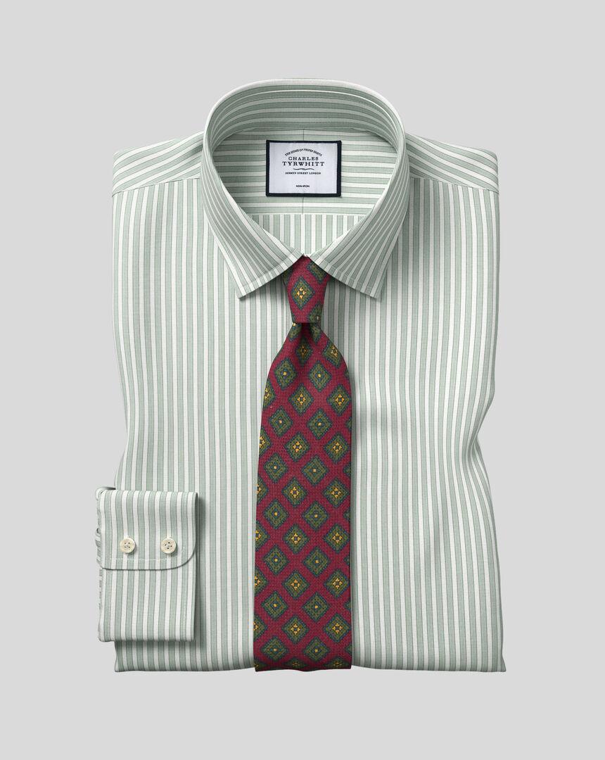 Classic Collar Non-Iron Poplin Stripe Shirt- Green