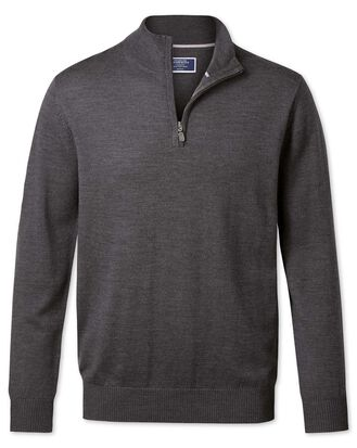 Charcoal merino wool zip neck sweater