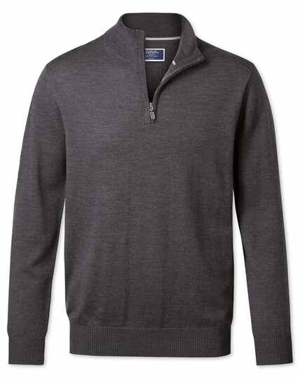 Charcoal merino wool zip neck jumper