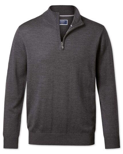 Charcoal merino wool zip neck sweater