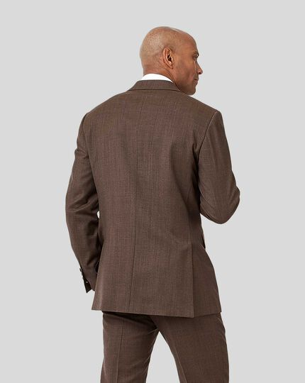 Semi-Plain Suit Jacket - Brown