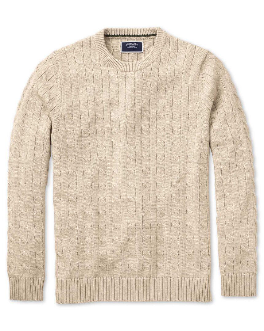 Stone Pima cotton cable crew neck sweater