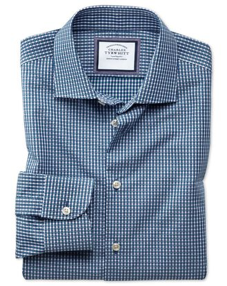 Slim fit semi-spread collar business casual non-iron modern textures navy blue and green gingham shirt