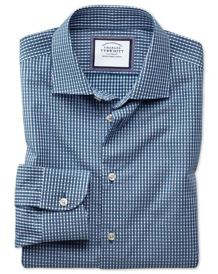 Slim fit semi-cutaway business casual non-iron modern textures navy blue and green gingham shirt