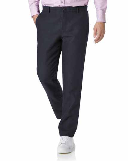 Navy slim fit easy care linen trousers