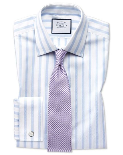 Egyptian Cotton Royal Oxford Stripe Shirt - Sky Blue