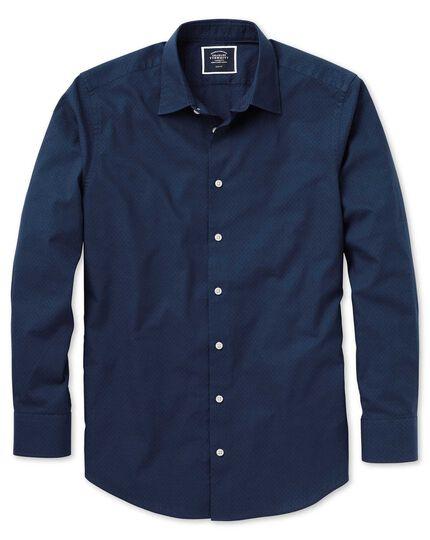 Slim fit dark blue spot soft texture shirt