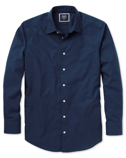 Slim fit dark blue spot soft texture shirt
