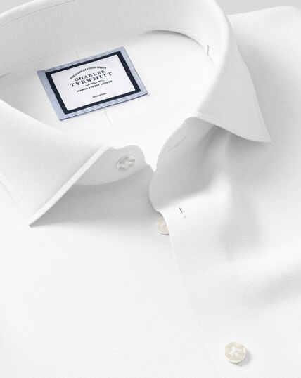 Bügelfreies Oxfordhemd mit Business-Casual-Kragen aus Baumwolle & Leinen - Weiß