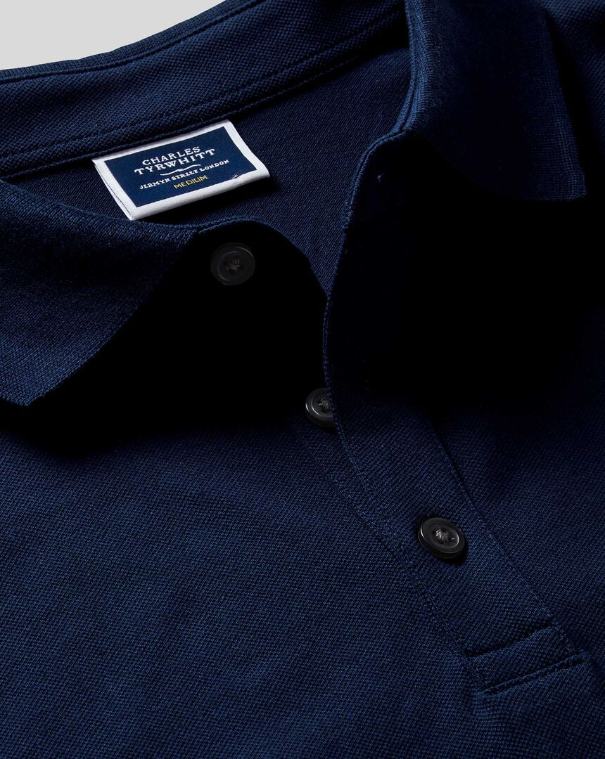 Tyrwhitt Piqué-Polo Langarm - Marineblau