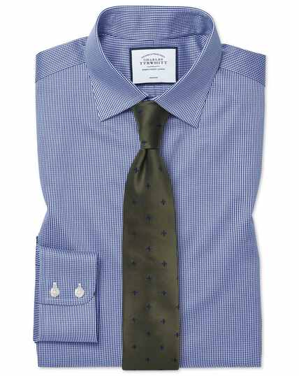 Classic fit non-iron royal blue puppytooth shirt