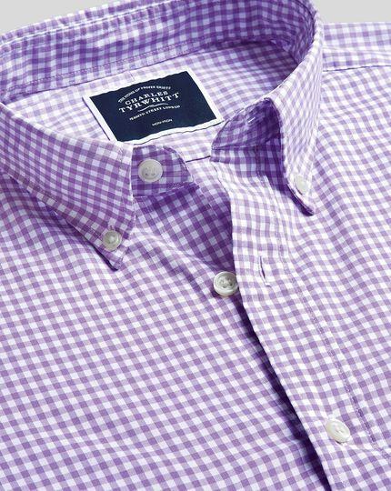 Chemise en popeline stretch soft washed lilas à carreaux vichy extra slim fit sans repassage