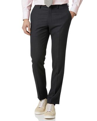 Charcoal slim fit birdseye travel suit trousers