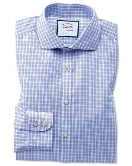 Extra slim fit non-iron twill gingham sky blue shirt