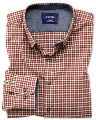 Chemise rouille à carreaux multicolores en coton doux slim fit
