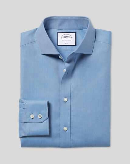 Cutaway Collar Non-Iron Twill Shirt - Blue