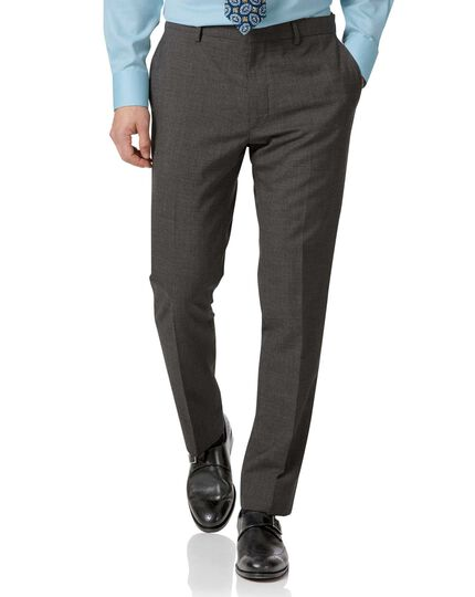 Grey slim fit merino business suit pants